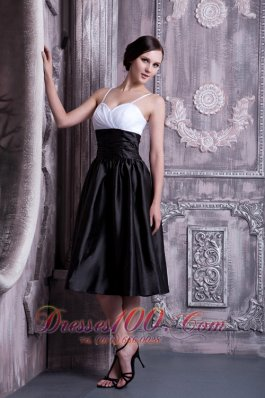 White and Black Ruched Spaghetti Straps Bridesmaid Dress