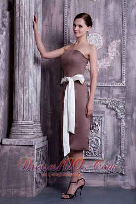 Brown Tea-length Sash Bridesmaid Dress Strapless
