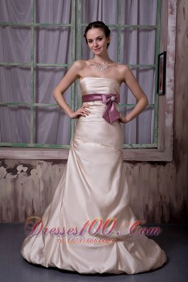 Beading Champagne Bridesmaid Dress Satin Brush Train