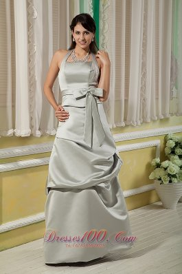 Grey Halter Bow Wedding Bridesmaid Dresses Satin