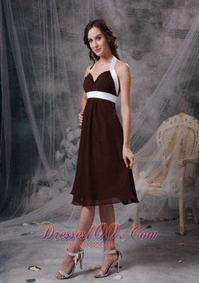 Halter Ruched Chiffon Brown Bridesmaid Wedding Dress