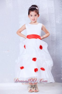White Flower Girl Dress with Red Flowers and Sash
