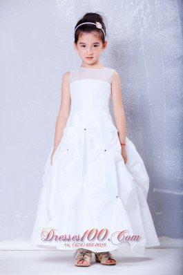 White Pleated Flower Girl Dress Ankle-length