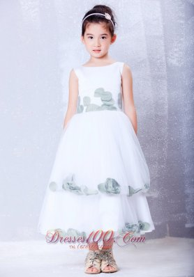 A-line Scoop Flower Girl Dress Tea-length Tulle
