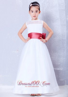 White Flower Girl Dress Wine Red Belt Ankle-length