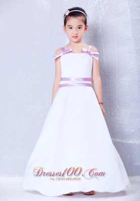 White Flower Girl Dress With Lavender Sash and Straps