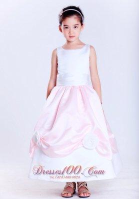 Baby Pink Taffeta Scoop Neck Flower Girl Dress