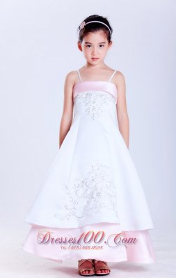 Light Pink and White Spaghetti Ankle-length Girl Dress