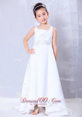 Luxurious White Square Brush Train Flower Girl Dress
