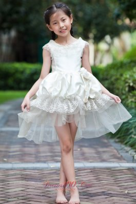 High-low Cap Sleeve Lace Flower Girl Dress