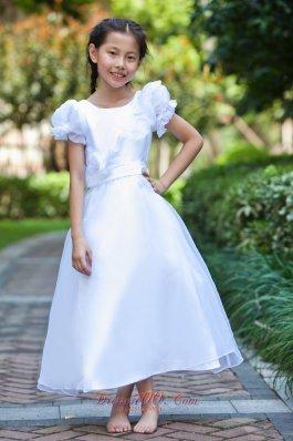 White Flower Girl Dress Ankle-length Scoop Neck