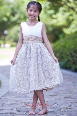 Tea-length Flower Girl Dress White and Champagne
