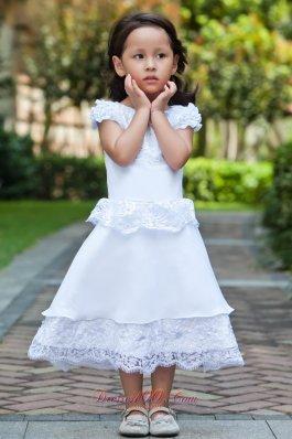 A-line Cap Sleeve White Flower Girl Dress Lace Hem