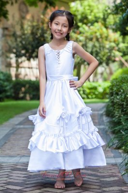Hand Made Flowers White Ankle-length Dress