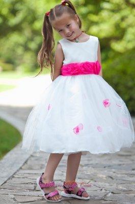Hot pink Belt and Flowers Tea-length White Girls Dress