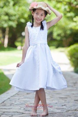 Scoop Tea-length Satin Flower Girl Dress Flowers