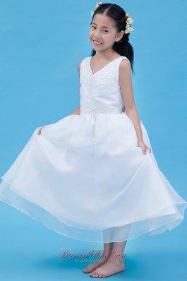 V-neck White Little Girl Dress Ankle Length Appliques