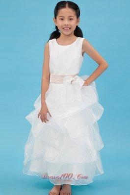 Custom Made Little Girl Flower Dress Champagne Belt
