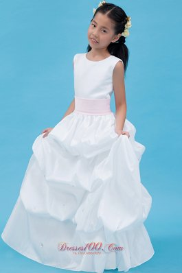 Cute Little Girl Dress Scoop White A-line with Belt