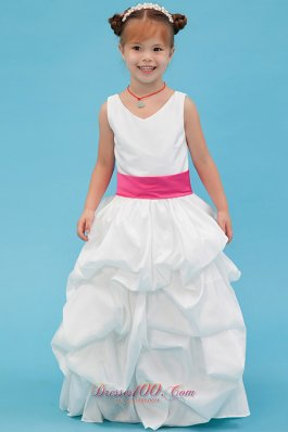 White A-line Pleated Flower Girl Dress with Pink Belt