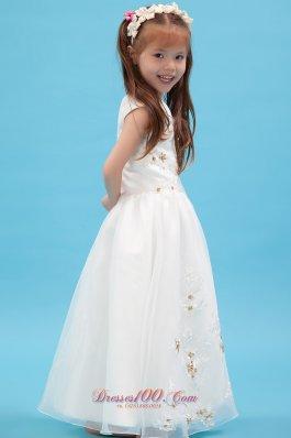 Discount Spring White V-neck Applique Flower Girl dress