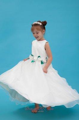 Flower Girl Dress Scoop Organza Hand Made Dress