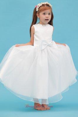 New Style Scoop Ankle Length Flower Girl Dress White