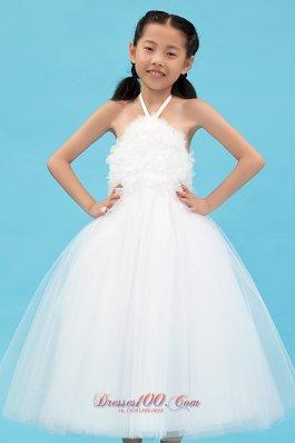 Halter Top Flower Girl Ankle Length Tulle Dress in White