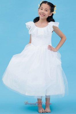 White Scoop Flower Girl Dress Cap Sleeve Ankle Length