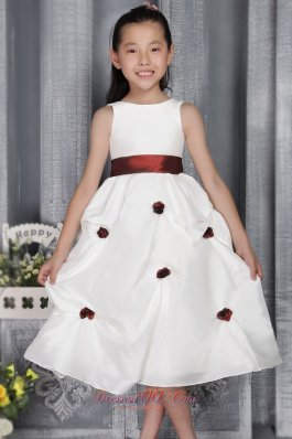 Popular Girls Dress with Burgundy Sash and Flowers