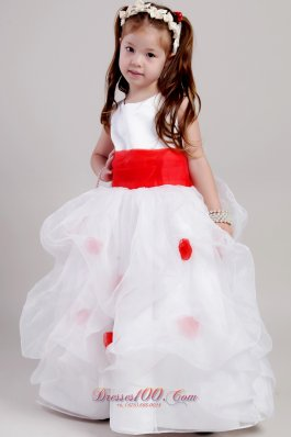 White Girl Pageant Dress Red Waistband and Flowers
