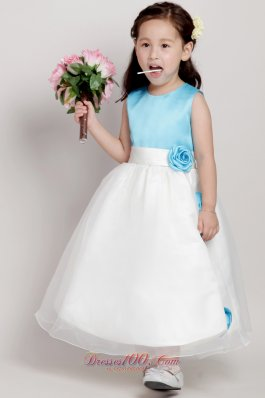 Blue and White Flower Girl Pageant Dress Hand Made Flower