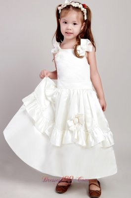 Low Price A Line White Girl Pageant Dress with Bow