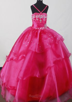 Hot Pink Beading Little Girl Pageant Dress Organza