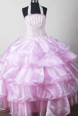 Baby Pink Beaded Halter Top Toddler Pageant Dresses