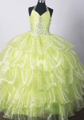 2013 Yellow Green Infant pageant dresses Beading