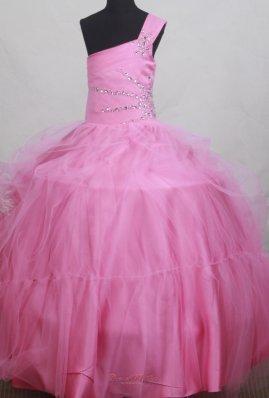 Beaded One Shoulder Little Girl Pageant Dress Light Pink