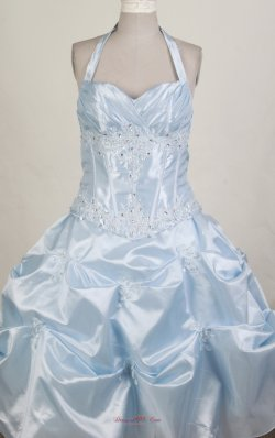 Halter Top Beading Little Girl Pageant Dress Light Blue