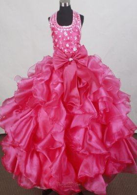 Halter Top Hot Pink Flower Girl Pageant Dress Beading