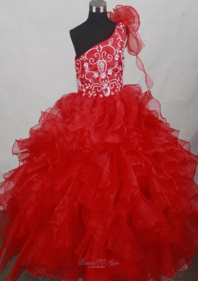 Red One Shoulder Flower Girl Dress Ruffled Layers Embroidery