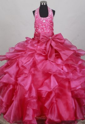 Halter Neckline Fuchsia Flower Girl Pageant Dress