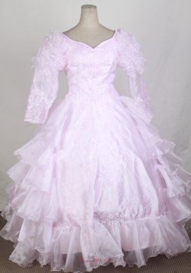 Long Sleeves Flower Girl Pageant Dress Baby Pink