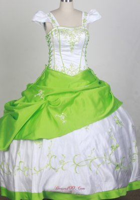Square Neck White and Spring Green Flower Girl Pageant Dress