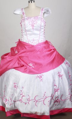 White and Hot Pink Cap Sleeves Embroidery Girl Pageant Dress