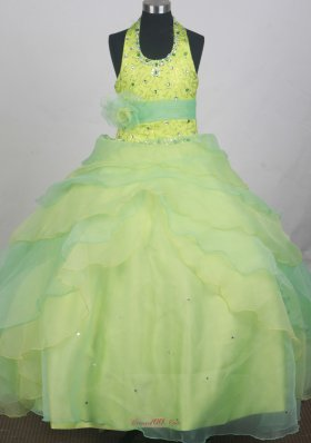Halter Flower Girl Pageant Dress Apple Green Beading Belt