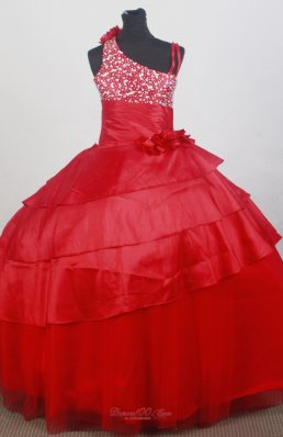 Discount Red Beaded Flower Girl Dress 2013