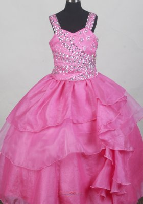 Hot Pink Beaded Bodices Flower Girl Pageant Dress