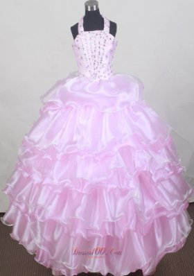 Glitz Halter Baby Pink Flower Girl Pageant Dress