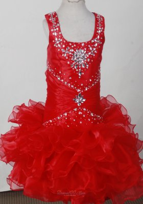 Red Scoop Neckline Beaded Little Girl Pagaent Dress