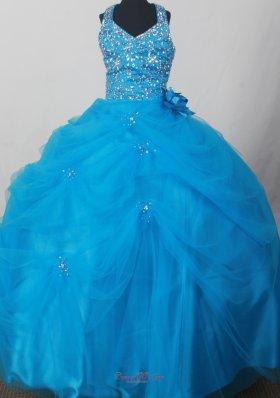 Blue Halter Neckline Flower Girl Pageant Dress With Beading